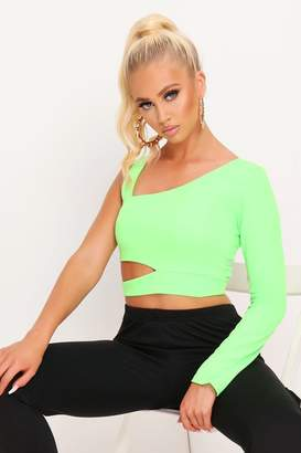 I SAW IT FIRST Neon Lime One Sleeve Cut Out Crop Top