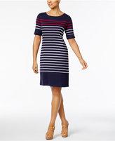 Karen Scott Petite Cotton Liberty Striped Sheath Dress, Created for Macy's