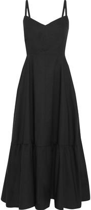 Iris & Ink Yucca Gathered Cotton-poplin Midi Dress