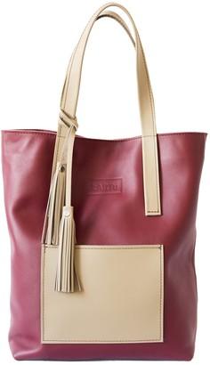 "Kartu Studio Natural Leather Tote Bag ""Mustard"" Dark Cherry Sand"