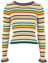 Topshop Hyper stripe knitted crop jumper