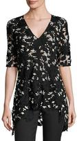 Lela Rose V-Neck Flared-Hem Lace Top, Black/Ivory