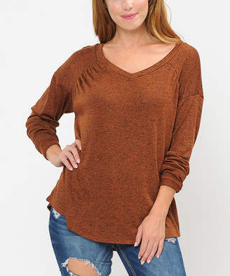 Cool Melon Women's Pullover Sweaters Rust - Rust V-Neck Tunic Sweater - Women