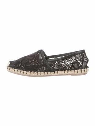 Valentino Lace Pattern Leather Trim Embellishment Espadrilles Black
