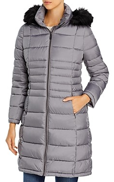 Calvin Klein Hooded Faux Fur Trim Puffer Coat