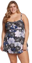 Shape Solver Plus Size Chelsea Floral Empire Bow Swimdress 8153913
