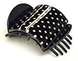"""Mia Super Clamp-Super Strong Jaw Clamp With Comfortable Contour Fit And Hidden Spring-Medium Size-Measures 3"""" Long x 2.5"""" Wide-Navy With White Polka Dotted Print (1 piece per card)"""
