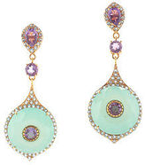 Rarities Gold Plated Sterling Chalcedony Amethyst Blue Topaz Earrings $950 New