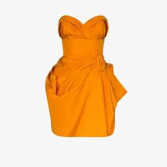 Carolina Herrera gathered bandeau silk mini dress