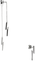 Noir Bolt Drop Silver-Tone Earring & Stud Set