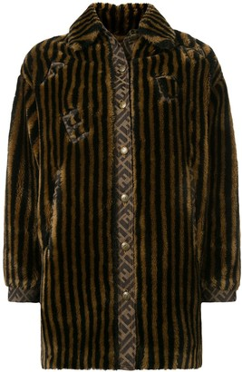 Fendi Pre Owned Striped Faux Fur Coat