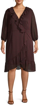 Adrianna Papell Plus Printed Ruffle Wrap-Style Dress