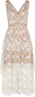 Self-Portrait Sequin-embellished tulle midi dress