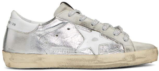 Golden Goose SSENSE Exclusive Silver and Grey Superstar Sneakers