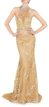Mac Duggal Bejeweled Lace Column Gown