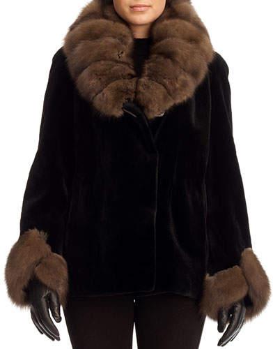 Gorski Sheared Mink Fur Jacket with Sable Trim