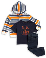Nautica Baby Boys Striped Hoodie, Tee and Jeans Set