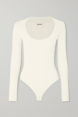 KHAITE Kerry Ribbed-knit Bodysuit - White
