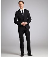Armani Collezioni black wool two-button suit with flat front pants