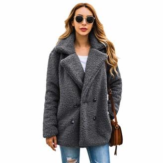 Milky Way Womens Casual Fleece Hoodies Fuzzy Sweatshirt Outerwea Open Front Lapel Coat Faux Fur Teddy Bear Jacket Fluffy (Grey XXXL)