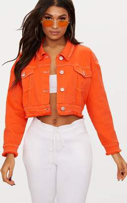PrettyLittleThing Bright Orange Cropped Denim Jacket