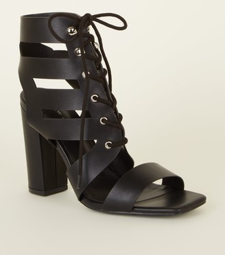 New Look Leather-Look Lace Up Ghillie Block Heels