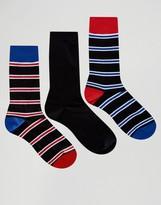 Pringle Stripe Socks In 3 Pack Black