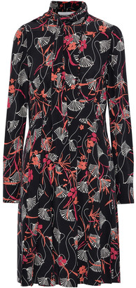 Valentino Tie-neck Pleated Floral-print Silk-crepe Dress