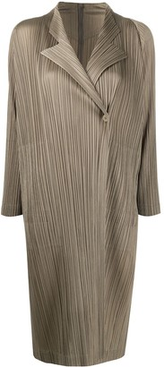 Pleats Please Issey Miyake Single Button Pleated Light Coat