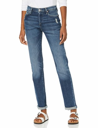 True Religion Women's Highrise Straight Turnup Jeans