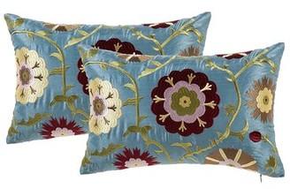 Charlton Homeâ® Hughesville Floral Rectangular Lumbar Pillow Charlton HomeA Color: Blue