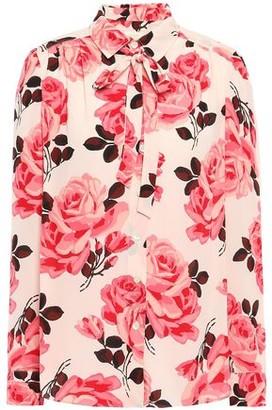 Kate Spade Pussy-bow Floral-print Crepe De Chine Shirt