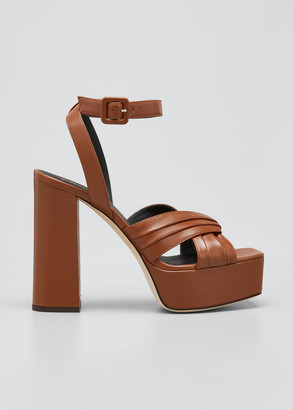 Giuseppe Zanotti 85mm Pleated Crisscross Platform Sandals
