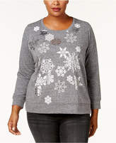 Style&Co. Style & Co Plus Size Graphic Glitter Top, Created for Macy's