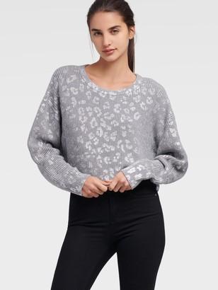 DKNY Women's Cropped Leopard Sweater - Medium Heather Grey - Size XX-Small