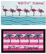 Betsey Johnson Flamingo/Palm Stripe Set of 2 Beach Towels