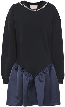Christopher Kane Cupcake Crystal-embellished Duchesse-satin And French Cotton-terry Mini Dress