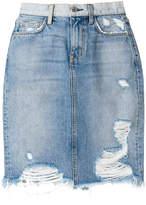 Current/Elliott distressed fitted skirt