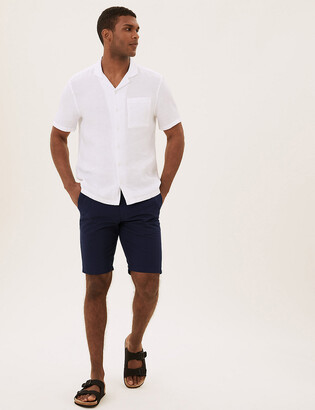Marks and Spencer Belted Checked Chino Shorts