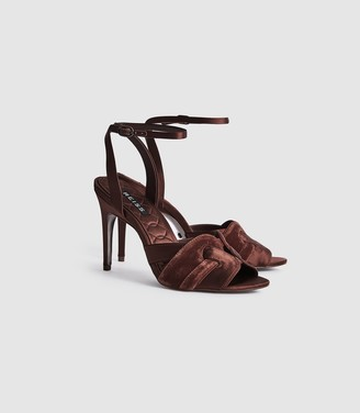 Reiss Amber - Velvet Strappy High Heeled Sandals in Chocolate