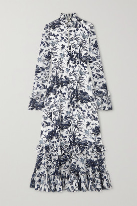 Erdem Miguella Ruffled Printed Silk Crepe De Chine Midi Dress - Blue