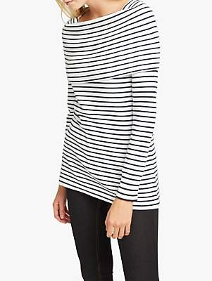 French Connection Stripe Cowl Neck Wrap Top, Winter White/Navy