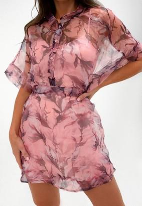 Missguided Blush Floral Organza Skater Shirt Dress