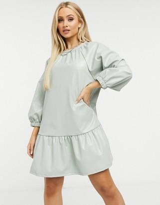 ASOS DESIGN leather-look mini smock dress in sage