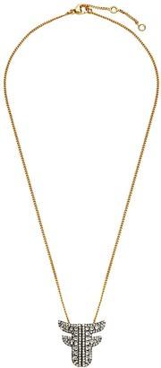 Fendi crystal embellished F necklace