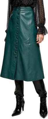Topshop Leather Button Midi Skirt