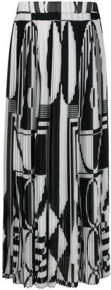 Balmain Geometric-Print Pleated Skirt
