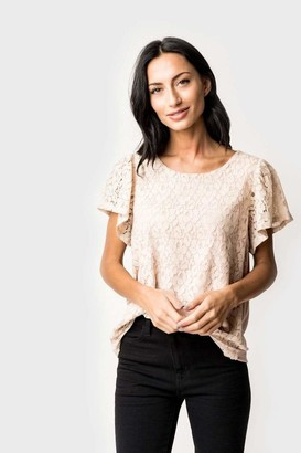 Gibson Fancy Ashley Lace Flutter Sleeve Tee