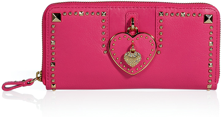 Juicy Couture Passion Pink Leather Heart Zip Wallet