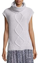 Rebecca Taylor Cap-Sleeve Optic Pullover Sweater, Sheer Pink